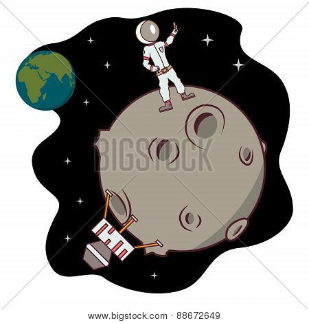 Isolated cartoon moon landing selfie time