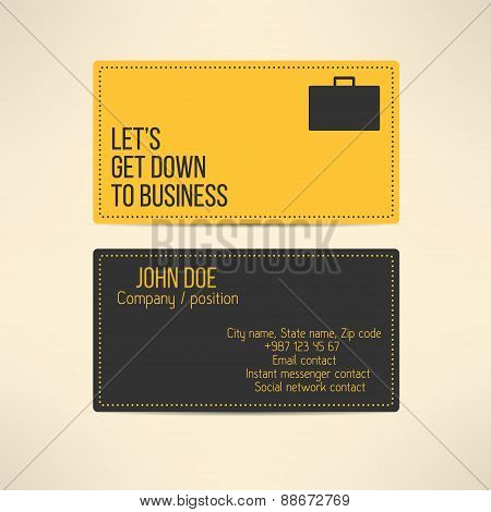 Business card template made in yellow and gray design with lets get down to business text on it. Vec
