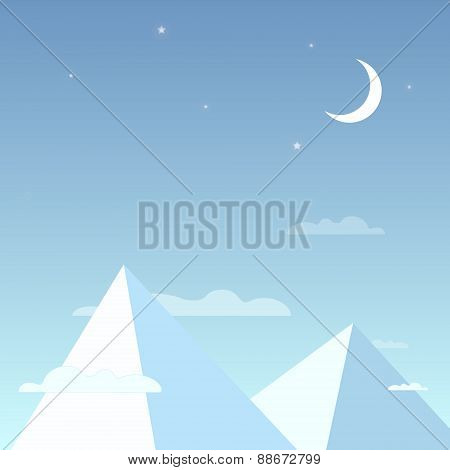 Mountains in the night sky in a simple light design. Mountain peaks with the clouds, bright stars an