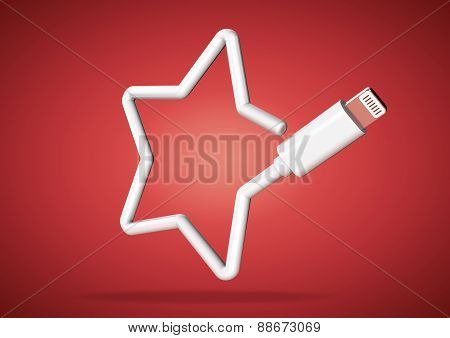 Computer cable makes internet star rating icon
