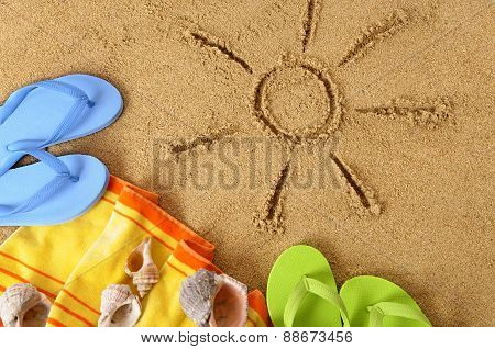 Beach Background With Sun