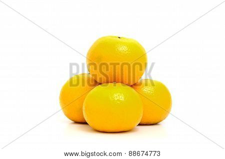 Fresh Oranges Isolate On White