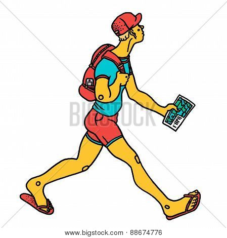 Man traveling with map and backpack on white background