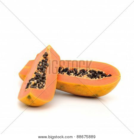 Papaya ripping on white background