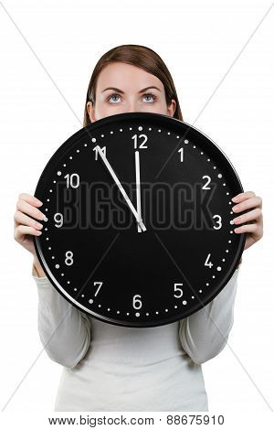 Woman face with a big clock