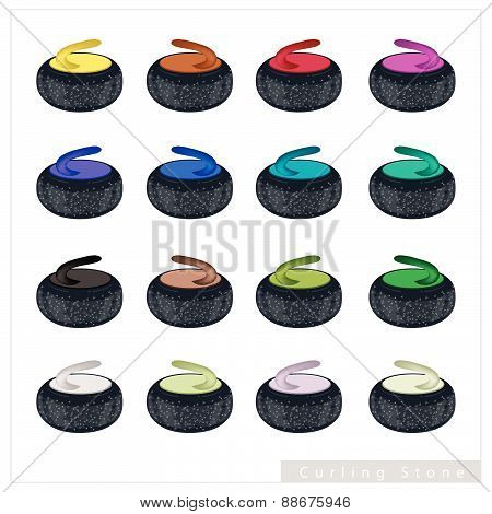 Set Of Curling Stone On White Background