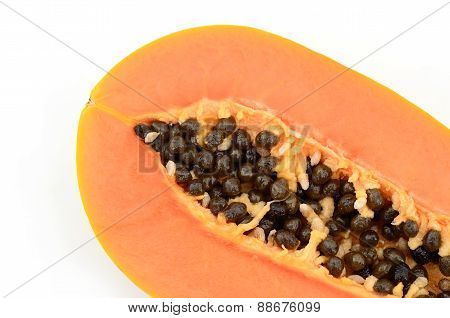 Section Of Papaya Fruit Isolate On White