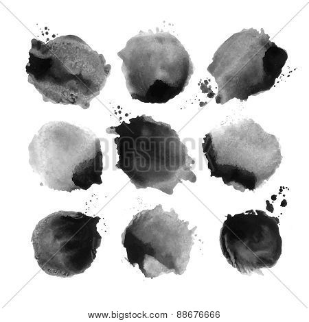 Set of black vector watercolor stain.