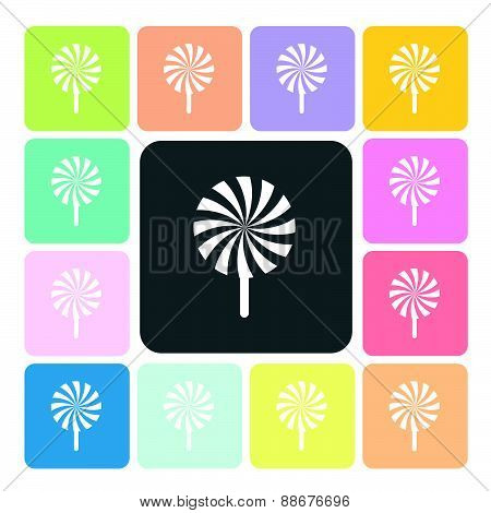 Lollipops Icon Color Set Vector Illustration