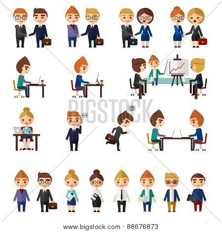 Business office people set.