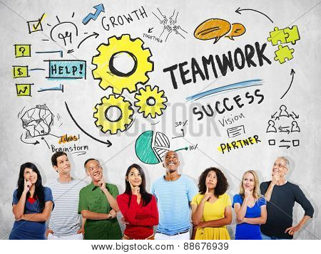 Teamwork Team Together Collaboration Diversity People Thinking Concept