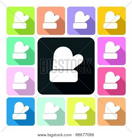 Christmas Mitten Icon Color Set Vector Illustration
