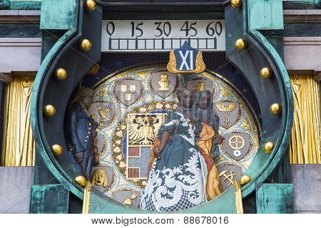 close up Jugendstil Ankeruhr Vienna Clock at Hoher Markt