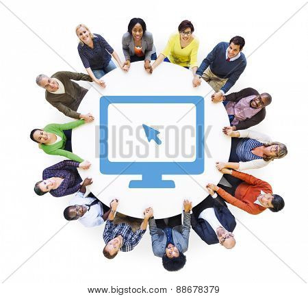 Multiethnic Group of People Holding Hands with Computer Symbol