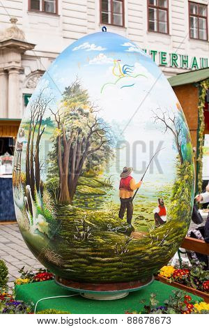 Colorful  big painted Easter egg at the traditional market in Vienna
