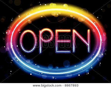 Vector - Open Neon Sign Rainbow Color