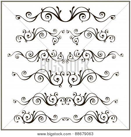 Vintage retro frame set. Calligraphic design elements.