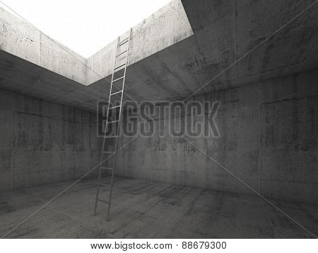 Metal Ladder Goes To The Light Out From The Concrete Interior