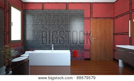 3D Interior Rendering Of A Bathroom With Furnitures