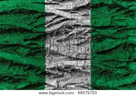 Nigeria National Flag Painted Wooden Bark Tree