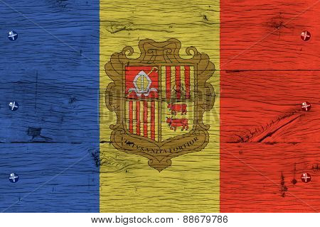 Andorra National Flag Painted Old Oak Wood Fastened