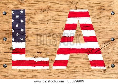 La Painted With Pattern Of Flag United States Old Oak Wood Fastened