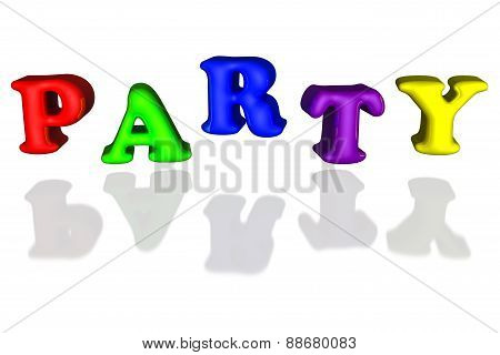 Balloon Inflated Letters Party Colorful Primary 3D