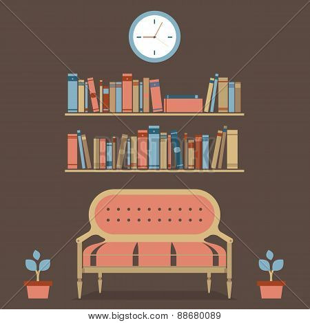 Flat Design Interior Vintage Sofa And Bookshelf.