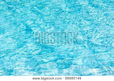 Blue swimming pool rippled water
