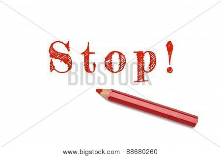 Stop Sketch Red Pencil