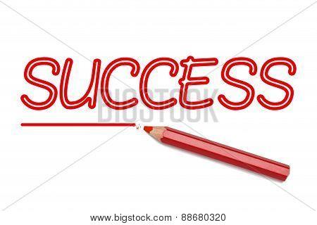 Success Written Red Pencil