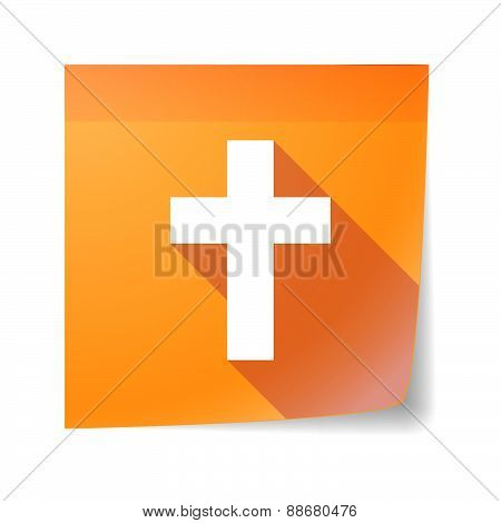 Sticky Note Icon With A Christian Cross