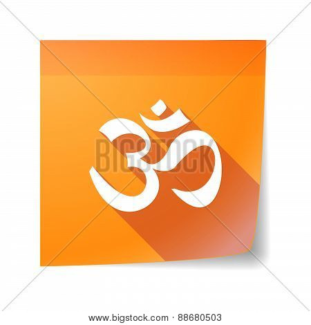 Sticky Note Icon With An Om Sign