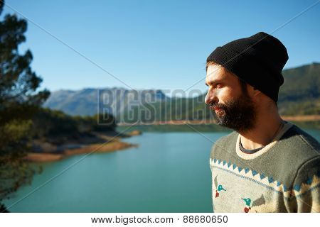 Traveler Outdoor Causanian Race Man Looks Into The Distance, Face In Profile Outside In Mountain