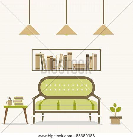 Modern Design Interior Chairs And Bookshelf.