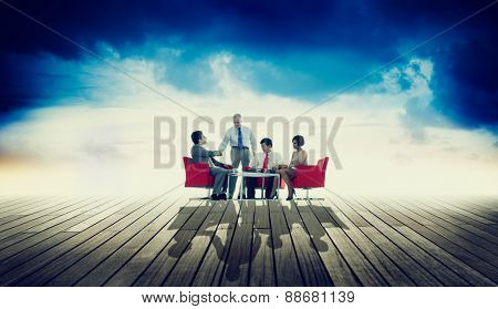 Business Team Discussion Meeting Outdoors Concept