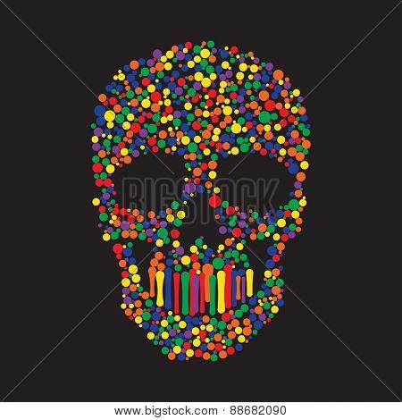 Human Skull from Color Paint Dots
