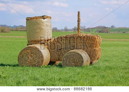 Tractor Made Of Hay Bales