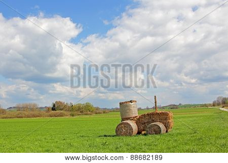 Tractor Made Of Hay Bales, Rural Landscape