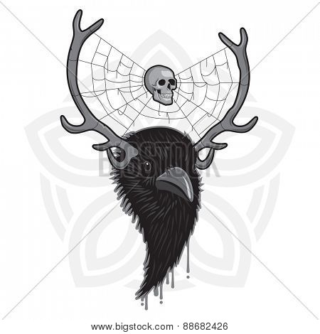Horned Head of Raven Bird with Spider Web and Skull