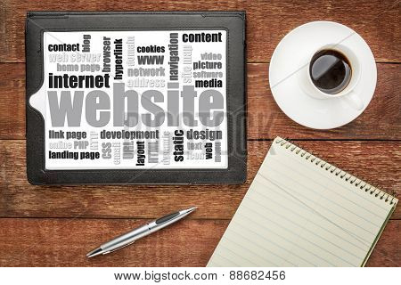 website word cloud on a digital tablet - top view against rustic wood with coffee and notepad