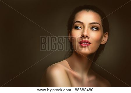 beauty woman on the dark background