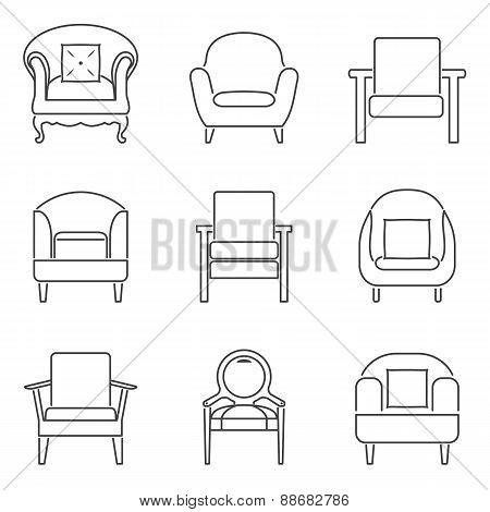 Sofa Icons Set Black Line.
