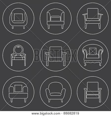 Sofa Icons Set White Line On Black Background.