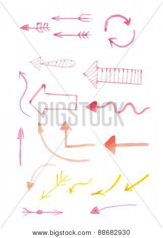 Set of hand-drawn watercolor arrows Vector illustration
