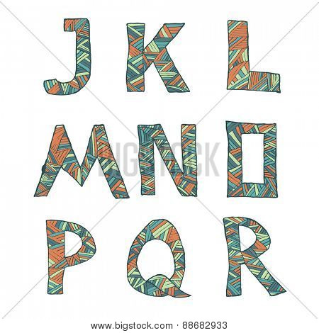 Hand drawn artistic font from lines, letters J-R. Vector illustration