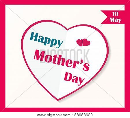 Happy Mother's Day poster. White paper heart
