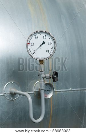 Pressure Gauge On The Factory Marriage.