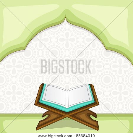 Holy month of muslim community, Ramadan Kareem celebration with illustration of open islamic book Quran Shareef on stylish background.