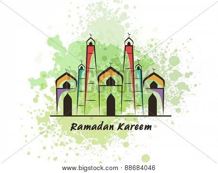 Colorful illustration of islamic mosque with green splash for holy month of muslim community, Ramadan Kareem celebration.